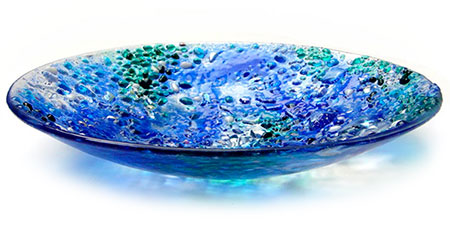 Blue Bolder Opal Glass Art Bowl - Judith Menges