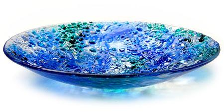 Blue Bolder Opal Glass Art Bowl - Judith Menges
