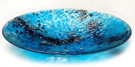 Turquoise Glass Art Bowl - Judith Menges