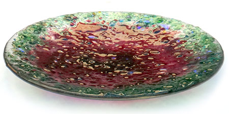 Watermelon Tourmaline Glass Art Bowl - Judith Menges