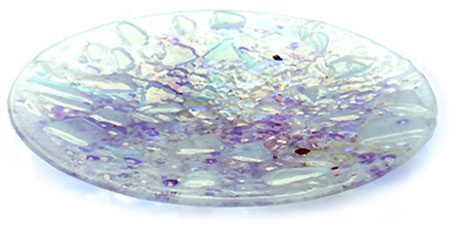 White Fire Opal Glass Art Bowl - Judith Menges